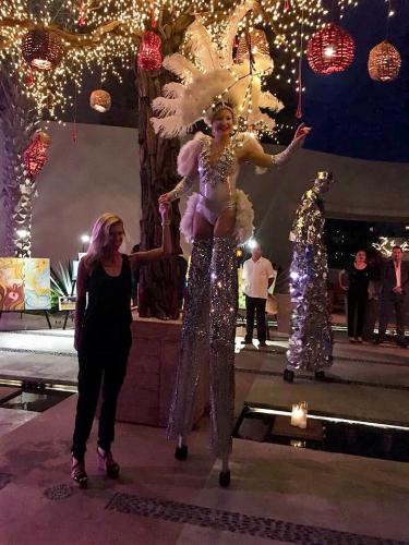 New Year's Stilt-Walking Act at Pedregal Luxury Resort, Cabo San Lucas, Mexico